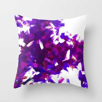 BLOSSOMS - PURPLE BLUE THROW PILLOW - 16x16 - With Insert - Society6