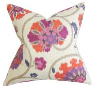 Floral 18x18 Cotton Pillow - One Kings Lane