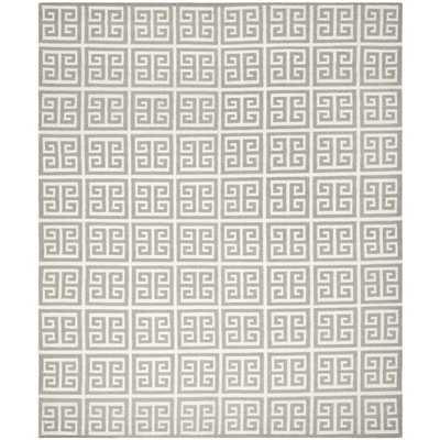 Moroccan Reversible Dhurrie Grey Wool Rug (9' x 12') - Overstock