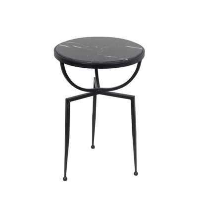 Privilege International Black Marble Accent Table - Overstock