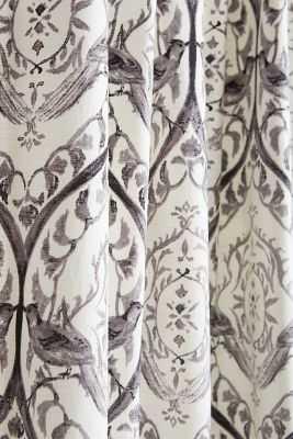 "Tiled Crest Curtain - 96"" x 50"" - Grey - Anthropologie"