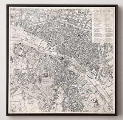 "VINTAGE AERIAL MAPS OF EUROPEAN CITIES - PARIS - 28""W x 28""H - RH"