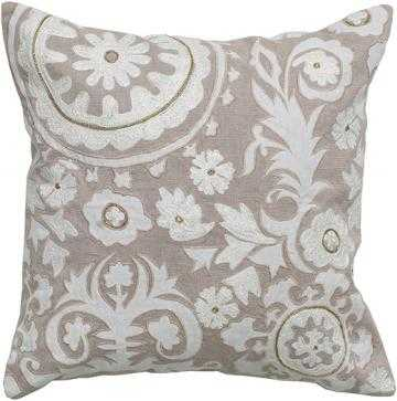 "NONA EMBROIDERED MEDALLION PILLOW-18""SQx3""d-NATURAL/ WHITE-Polyester fill insert - Home Decorators"
