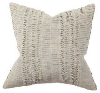 Pleat 18x18 Cotton Pillow, Natural - Feather/down insert - One Kings Lane