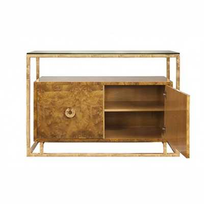 Worlds Away Juno Burl Cabinet with Gold Leaf Accents - The Well Appointed House