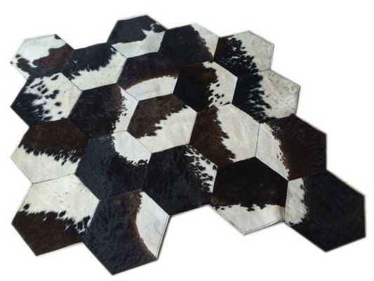 Cowhide Patchwork Rug. HEXAGON DESIGN Black Brown White ! Amazing!. 7.1 x 5.6 ft - Etsy