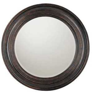 Distressed Black Round Mirror - Bellacor