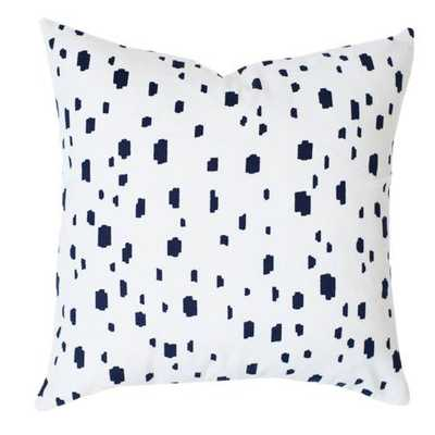 """Navy Spotted Pillow Cover- 20"""" L X 14"""" W- Insert Sold Separately - Domino"""