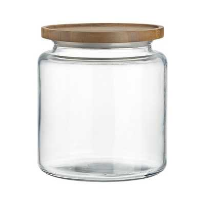 Montana 96 oz. Acacia and Glass Jar - Crate and Barrel