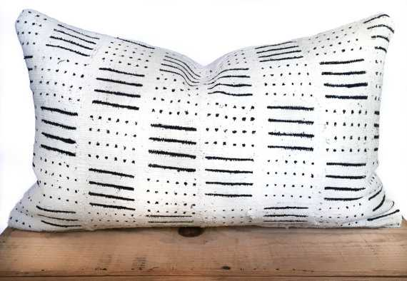 """16x26"""" Inch White African Mud Cloth Pillow Cover - Insert is not included - Etsy"""