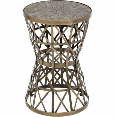 Woven Bronze Table W/Amber - High Fashion Home