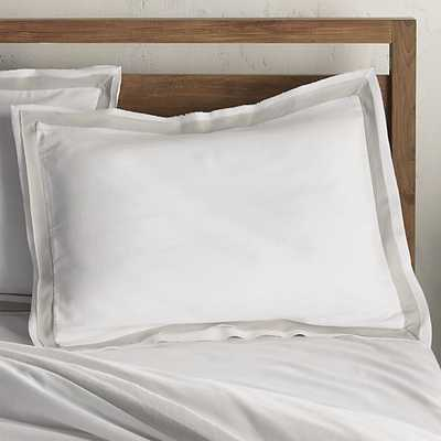 Bianca White/Grey Standard Pillow Sham - Crate and Barrel