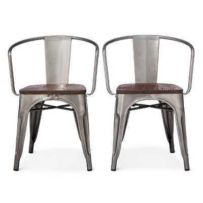 Carlisle Wood Seat Dining Chair - Natural Metal (Set of 2) - Target
