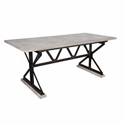 angelo:HOME Fulton Reclaimed Wood and Iron Trestle Dining Table - Overstock