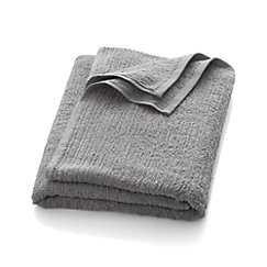 Ribbed Grey Bath Sheet - Crate and Barrel