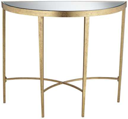 Amelia Antique Gold Demilune Console Table - Lamps Plus