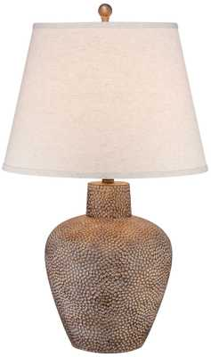 Bentley Brown Leaf Hammered Pot Table Lamp - Lamps Plus