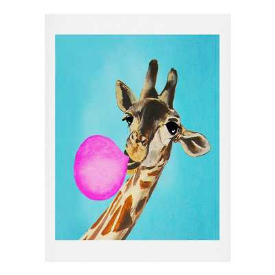 "GIRAFFE BLOWING BUBBLEGUM-12""x12""-Framed - Wander Print Co."