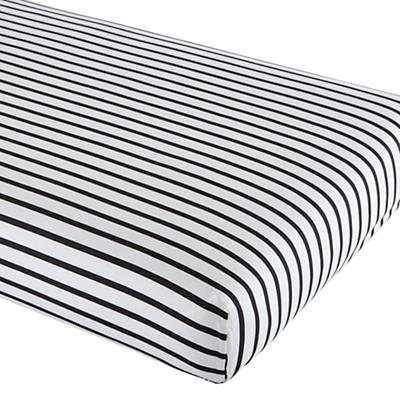 Noir Stripe Crib Sheet - Land of Nod