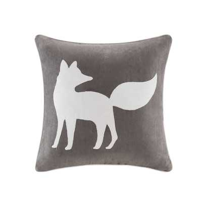 Fox Embroidered Suede Throw Pillow - Wayfair
