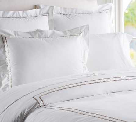 PEARL EMBROIDERED DUVET COVER, FULL/QUEEN, TAUPE - Pottery Barn