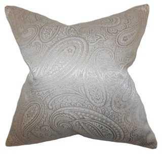 Paisley 18x18 Pillow, Pewter-Insert - One Kings Lane