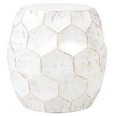 Honeycomb Accent Table - Distressed White - Home Decorators