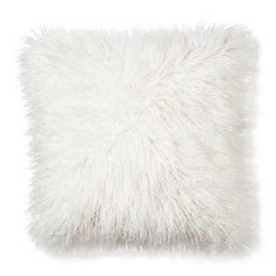 "Mongolian Fur Decorative Pillow - Cream - 18"" sq. - Polyester fill - Target"
