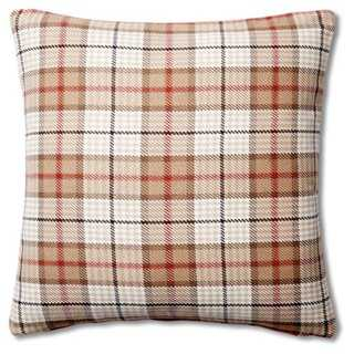 Plaid 20x20 Cotton Pillow, Tan  - down/feather insert - One Kings Lane