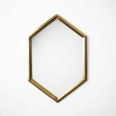 Shape Mirror, Plated Brass, Irregular Hexagon - West Elm