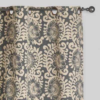 Gray Wild Hibiscus Jaipur Grommet Top Curtains - World Market/Cost Plus