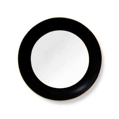Black Grande Vanderbilt Dinner Plate with Gold Rim - Domino