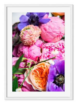 "Bright Blooms-26"" x 19"" -Framed - Domino"