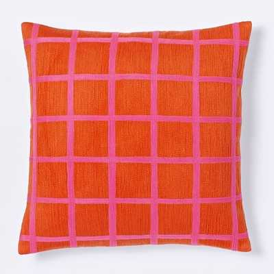 "Crewel Windowpane Pillow Cover-20""sq.-Insert not included - West Elm"
