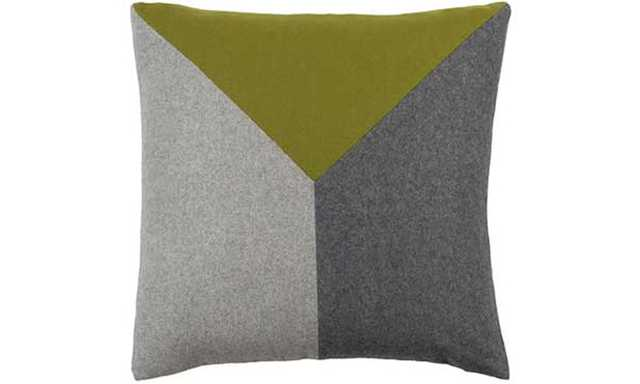 "Tucker Pillow-18""x18""-Lime/ Gray/Light Gray-Insert - Joybird"
