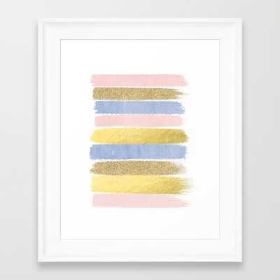 """Pantone gold glitter modern minimal brushstrokes abstract art - FRAMED / SCOOP WHITE MINI 10"""" X 12"""" - Society6"""