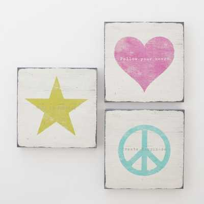 Icon Sentiments Wall Art - Set of 3 - Pottery Barn Teen