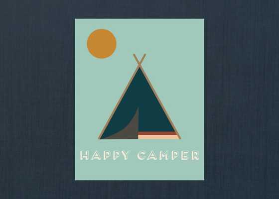 "Happy Camper Wall Art - 8"" x 10"" - Unframed - Etsy"