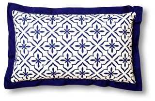 Tile 14x24 Cotton Pillow, Blue-polyester/feather insert - One Kings Lane