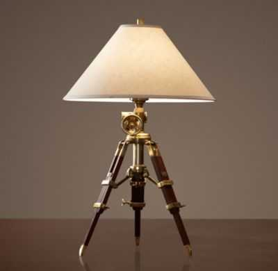 ROYAL MARINE TRIPOD TABLE LAMP - Antique Brass and Brown - RH
