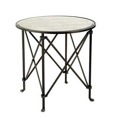"Olivia 30"" Round Mirrored Side Table - Black - Ballard Designs"