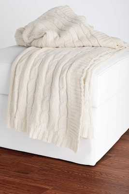 CABLE KNIT DECORATIVE THROW - Cream - Home Decorators