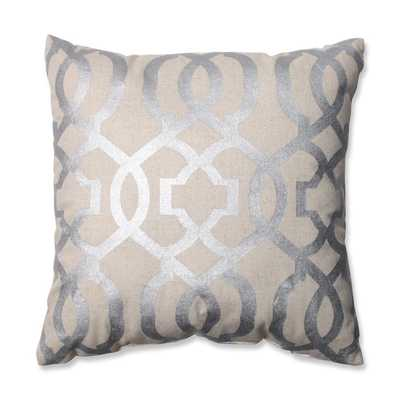 Pillow Perfect Geometric Silver/Linen 16.5-inch Throw Pillow - Overstock