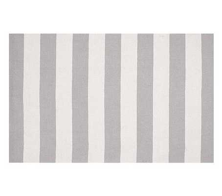 Rugby Rug- Gray/White - Pottery Barn Kids