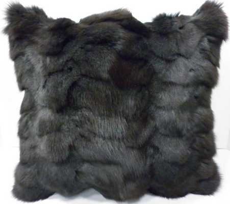 "Real Fox fur Pillow, GRAY -  16""X16"" - Insert Sold Separately - Etsy"