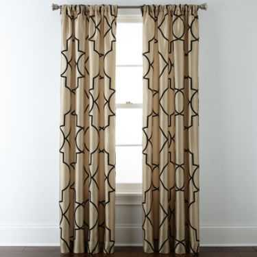 Gallery Scroll Rod-Pocket Curtain Panel - Biscotti - 50''x95'' - JC Penney