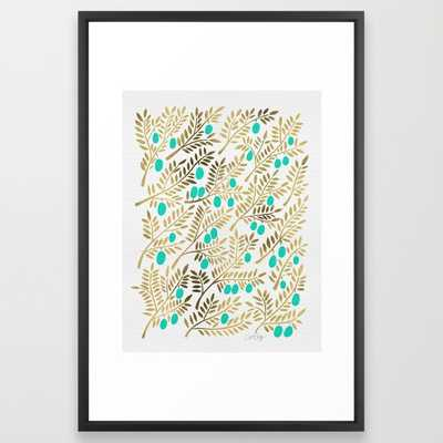 Gold & Turquoise Olive Branches - Society6
