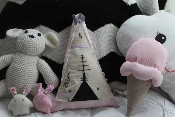 Teepee Cushion Pink-35 x 25 x 10-With insert - Etsy