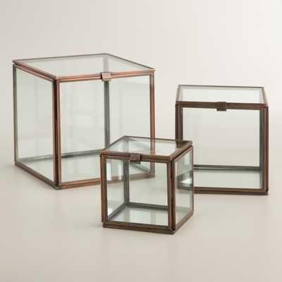 "Square Glass Curio Box - 5""W x 5""L x 5""H-Large - World Market/Cost Plus"