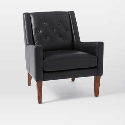Library Leather Chair-Leather, Nero with Pecan Legs - West Elm